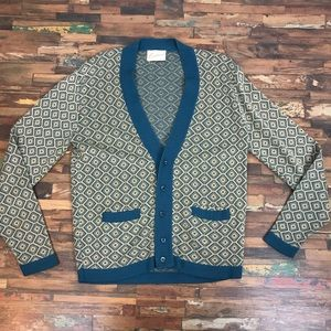 Vintage Mens L Cardigan teal blue pattern sweater